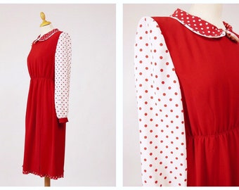 241a334fec8 LUISA SPAGNOLI Vintage 1980s red and white polka dots print dress - size S/M