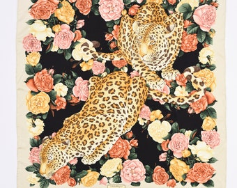 SALVATORE FERRAGAMO authentic vintage 1980s leopard and floral print silk  scarf dbba5143cfd22