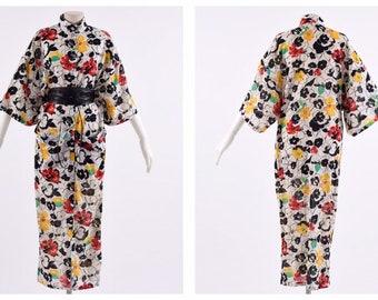 a4801a773 GIANNI VERSACE authentic vintage 1980s floral print cotton kimono dress -  size M