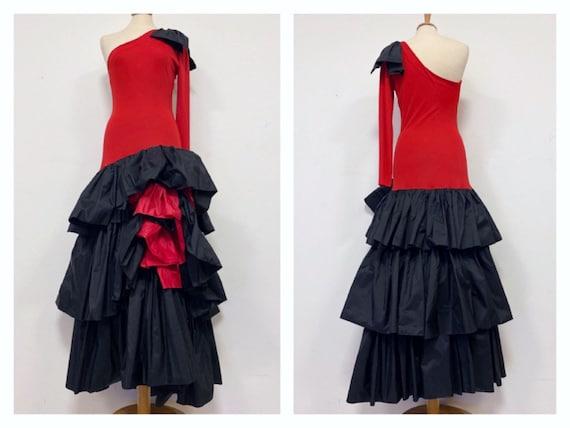LORIS AZZARO vintage 1980s red and black ruffle on