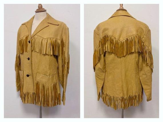 Vintage 1940s 1950s Western tan leather fringe jac