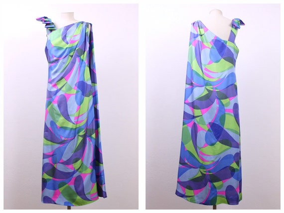 Vintage 1960s 1970s psychedelic geometric print si