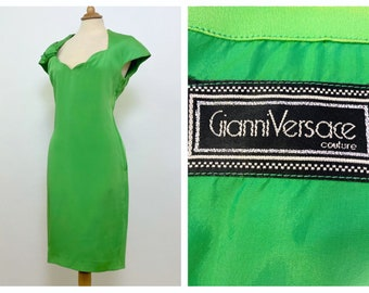 GIANNI VERSACE Couture Made in Italy vintage 1990s apple green silk wiggle dress - size M/L