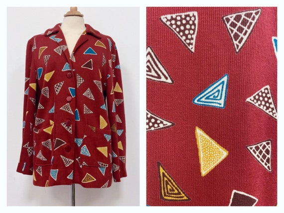 Vintage 1980s abstract geometric print knitted woo