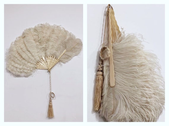 Antique vintage 1920s 1930s feathers fan with gala