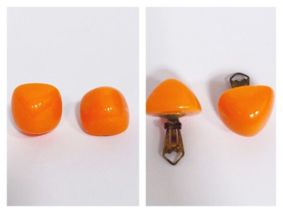 Vintage 1960s 1970s orange plastic mod clip on ear