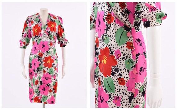 SCHERRER vintage 1980s colorful floral abstract pr