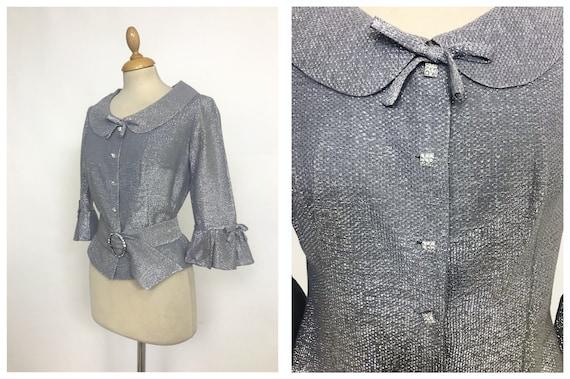 Vintage 1960s silver lurex Mod blouse top shirt -