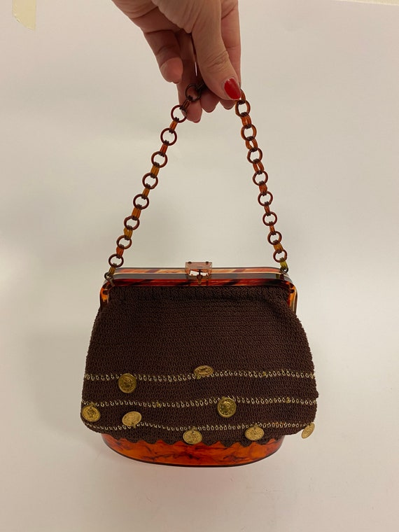 vintage 1950s lucite crocheted coins charms purse - image 5