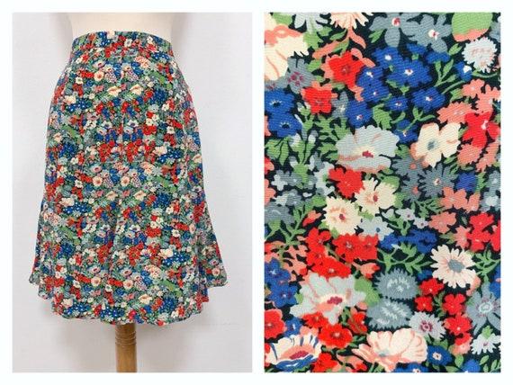 Vintage 1980s floral print silk mini skirt - Size