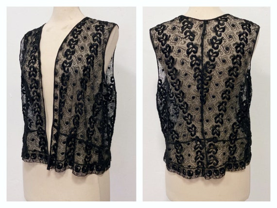 Antique Vintage 1930s black lace blouse vest - siz