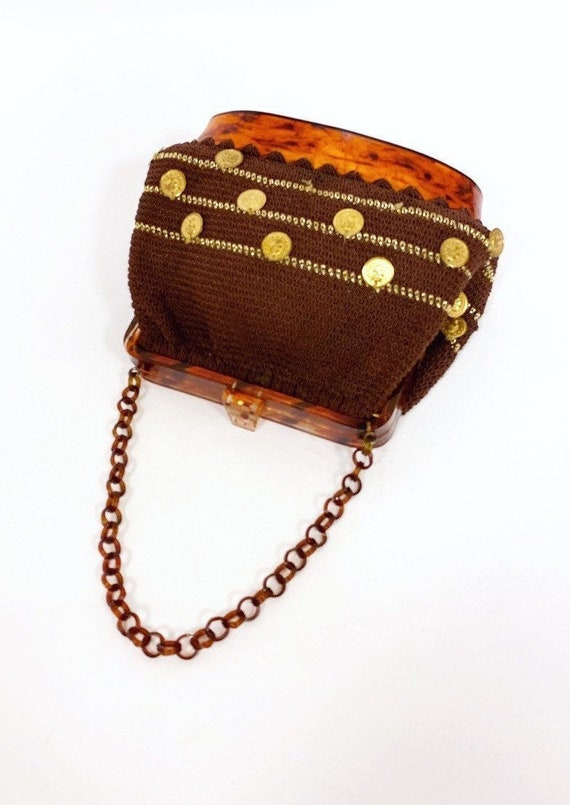 vintage 1950s lucite crocheted coins charms purse - image 4