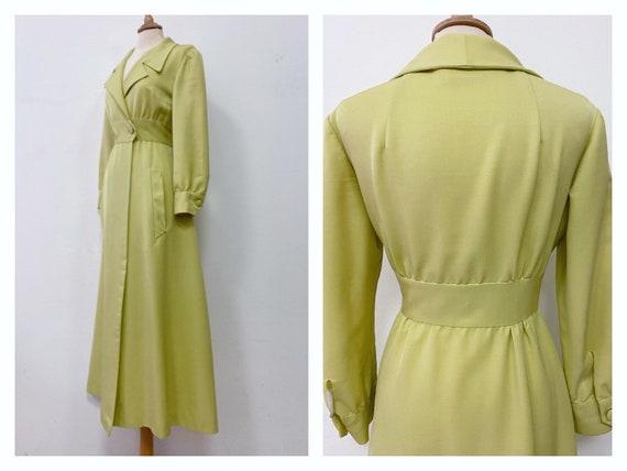 Vintage 1970s lime green long overcoat dress - siz