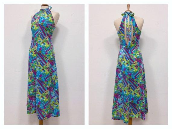 Vintage 1970s floral geometric psychedelic print j