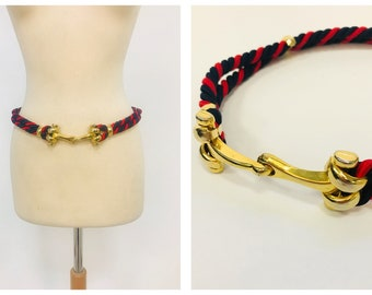 Vintage 1970s 1980s red and navy blue rope golden metal nautical belt