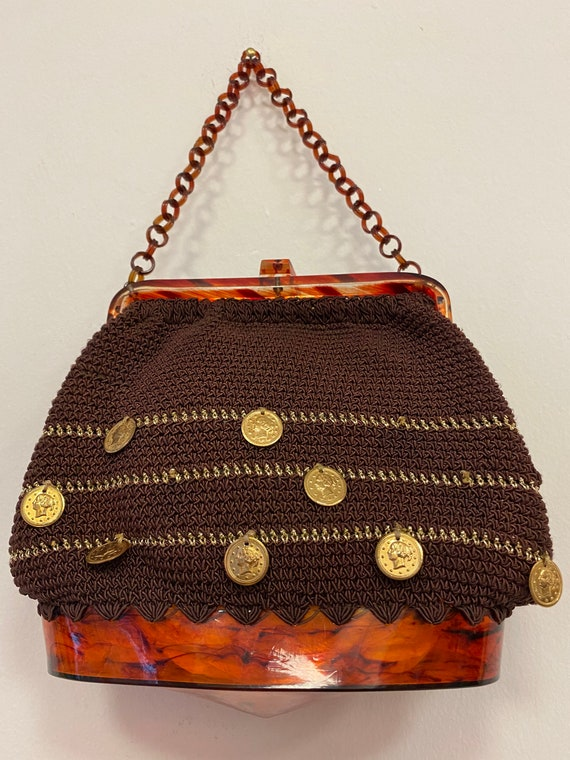 vintage 1950s lucite crocheted coins charms purse - image 2