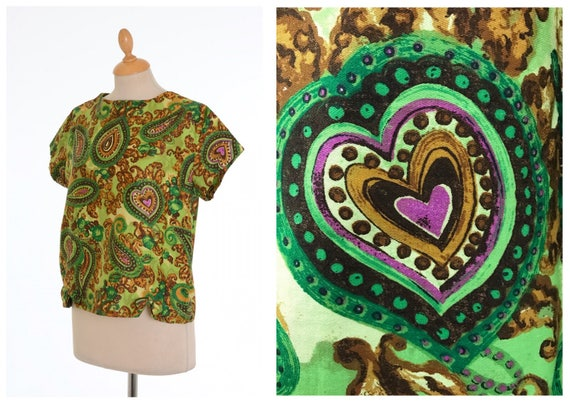 size M Vintage 1950s 1960s green paisley print cotton shirt