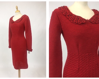 Vintage amazing 1950s red wool knitted bombshell wiggle dress - size S