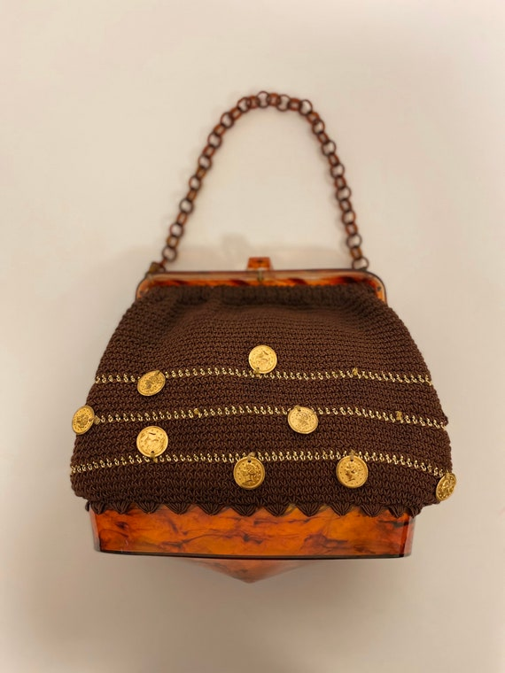vintage 1950s lucite crocheted coins charms purse - image 3