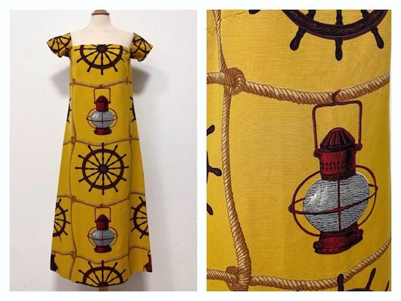 Vintage 1970s novelty print nautical motif summer