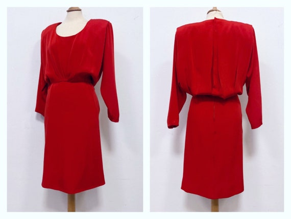 Vintage Made in Italy 1980s 1990s red silk blouson