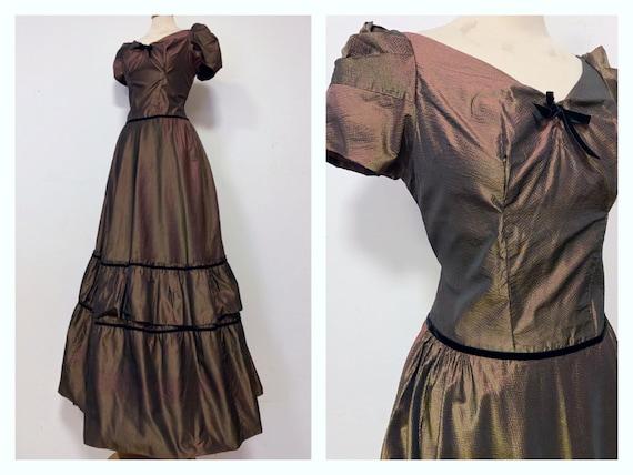 1930/'s handmade net /& velvet chocolate brown maxi dress good size