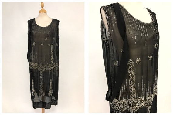 524e08a865b Antique Vintage authentic 1920s black sheer embroidered   Etsy