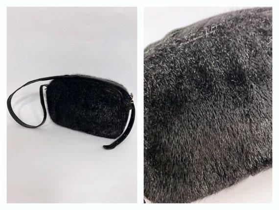 Vintage 1950s 1960s black seal skin mini shoulder