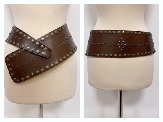 Vintage 1970s 1980s brown leather studded wide bel