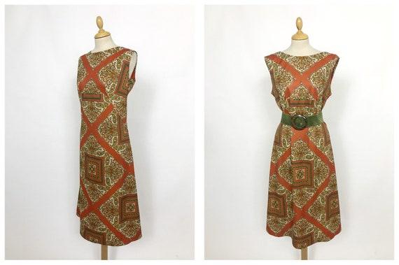 Vintage 1960s paisley print jersey mod dress - siz