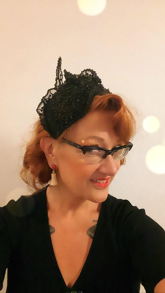 Vintage 1950s rare amazing Italian Couture black … - image 6