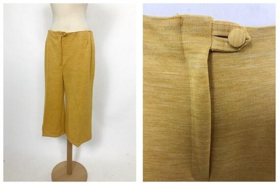 Vintage 1970s mustard yellow gaucho bermuda pants
