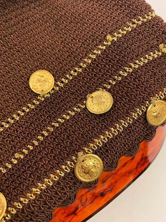 vintage 1950s lucite crocheted coins charms purse - image 8
