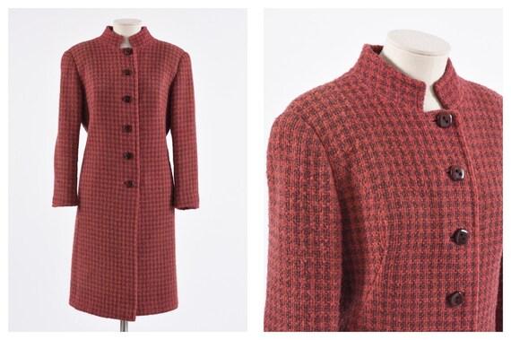 Vintage 1960s red pied de poule woolen mod coat -