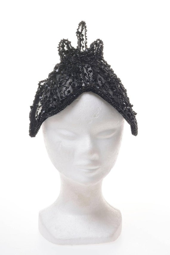 Vintage 1950s rare amazing Italian Couture black … - image 2