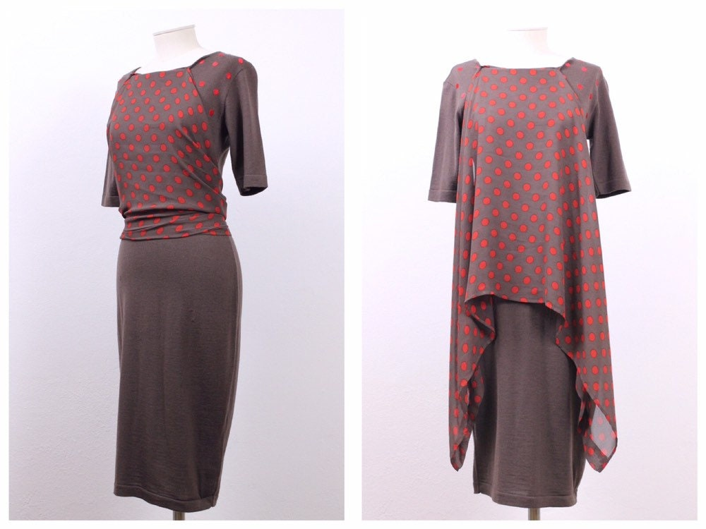 80s Dresses | Casual to Party Dresses Gianfranco Ferre Vintage 1980S Brown  Red Dots Print Knitted Shirt Dress - Size S $96.84 AT vintagedancer.com