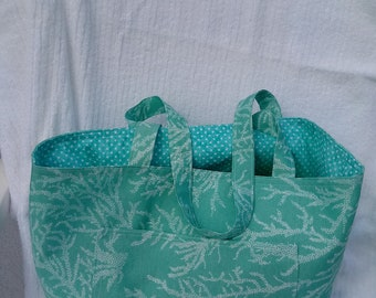 Coral Beach Tote Bag with free matching beach towel scrunchie