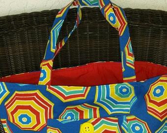 Umbrella Fabric Beach Tote Bag with matching beach towel Scrunchie