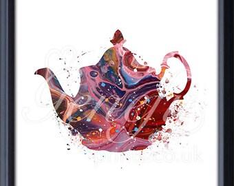 Kitchen Teapot Watercolor Art Print - Teapot Watercolor Art Painting - Teapot Poster - Kitchen Decor - Home Decor - House Warming Gift K12