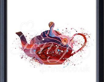 Kitchen Teapot Watercolor Art Print - Teapot Watercolor Art Painting - Teapot Poster - Kitchen Decor - Home Decor - House Warming Gift K13