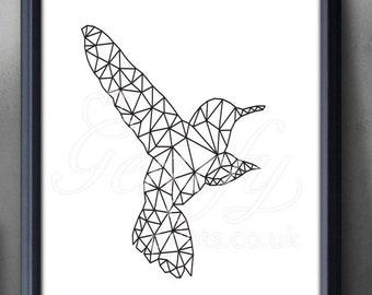 Humming Bird Black and White Art Print - Animal Print - Bird Geometric Print -Animal Nursery Art - Deer Geometric Print - Nursery Wall Decor