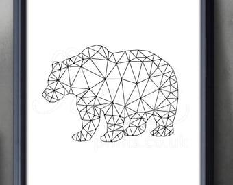 Kot Czarno Białe Art Print Zwierzę Drukuj Kot Geometryczny Etsy