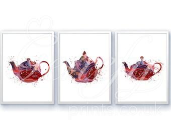 Kitchen Teapot Watercolor Art Print - Set of 3 Prints - Teapot Watercolor Art Painting - Teapot Poster - Kitchen Decor - House Warming Gift