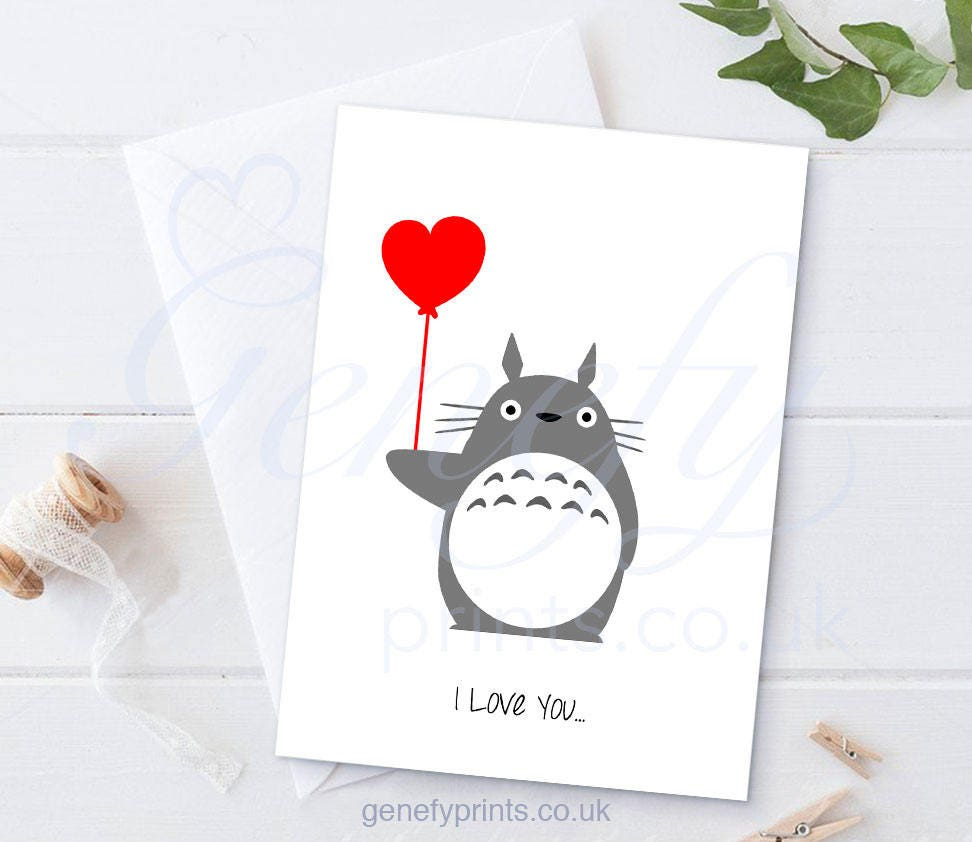 Studio Ghibli My Neighbour Totoro I Love You Card