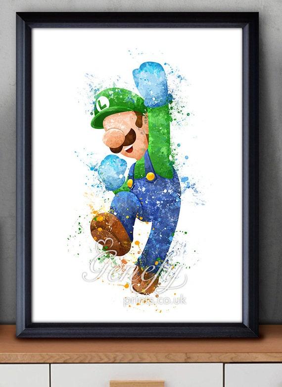 Luigi Super Mario Brothers Aquarell Aquarell Aquarell | Etsy