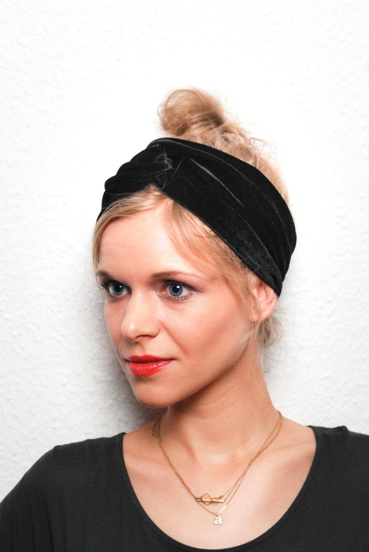 Turban  Headband  Velvet  Women  black  Green image 0