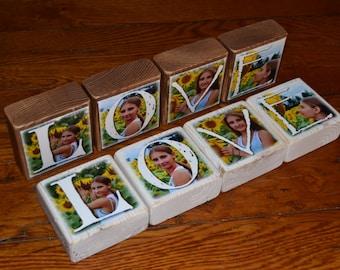 Photo Gift LOVE- set of 4 Photo Letter Blocks