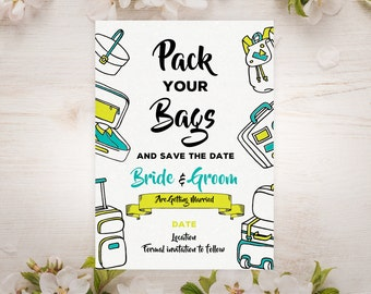 pack bags save date etsy