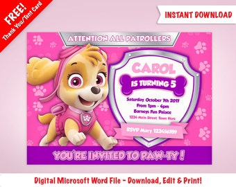 DIY Printable Skye Paw Patrol Birthday Invitation Template