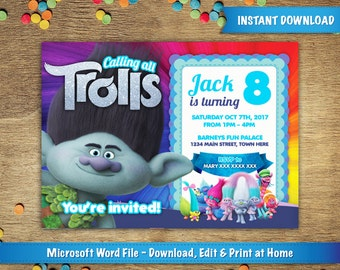 DIY Printable X Trolls Poppy Birthday Party Invitation - Free 5x7 invitation template